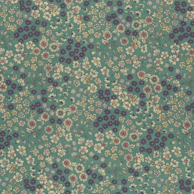 Tissu Coton Frou-Frou Fleuri N°5 Vert pâle et ecru - Par 10 cm