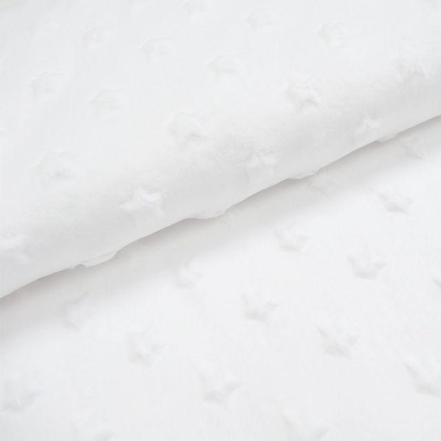 Tissu Minky Ultra doux Etoiles Blanc x10cm