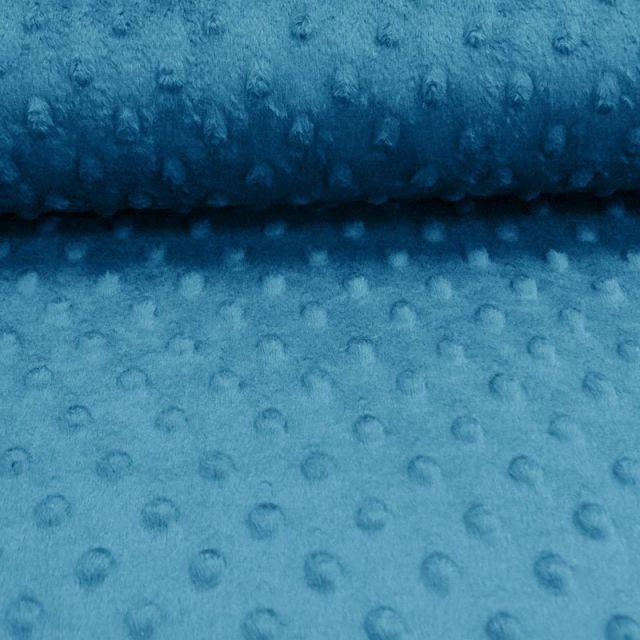 Tissu Minky ultra doux Pois Bleu Paon x10cm