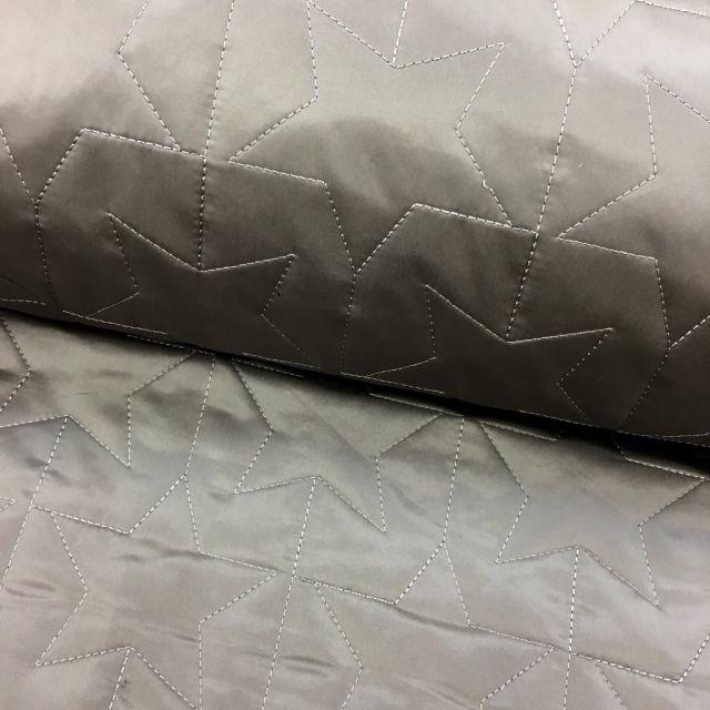 Tissu Doudoune été Taupe Etoiles - Par 10 cm