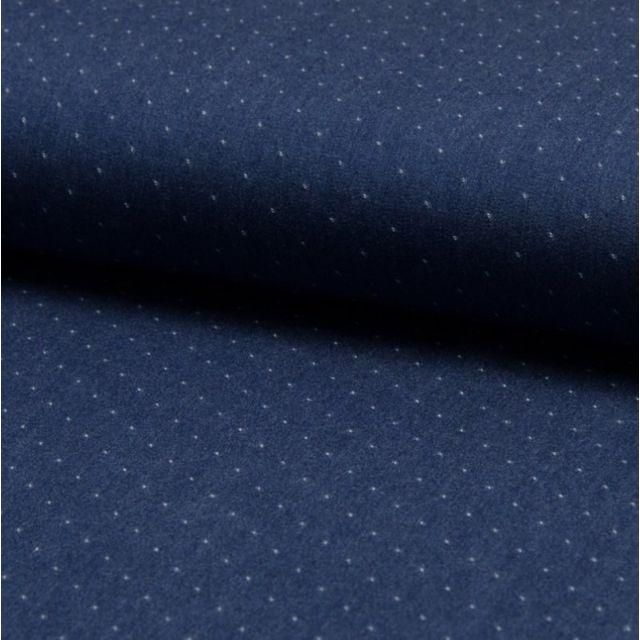 Tissu Chambray Tencel Bleu jean foncé Pois Blancs - Par 10 cm