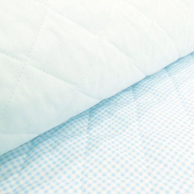 Tissu Piqué de coton Baby Matelassé réversible Bleu ciel - Par 10 cm