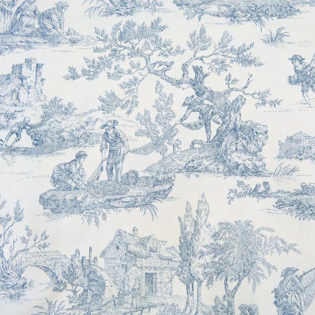 Tissu Toile de Jouy Bleu en 280 cm de largeur - Par 10 cm