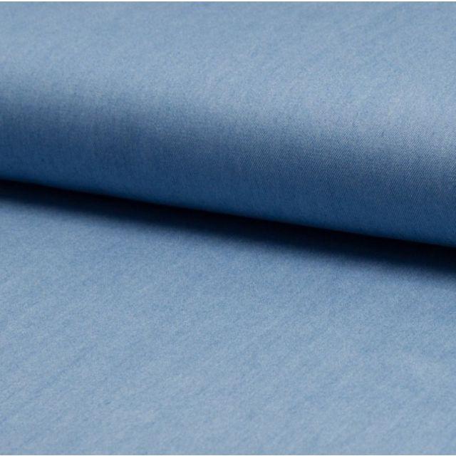 Tissu Chambray Léger Coton Bleu jean clair - Par 10 cm