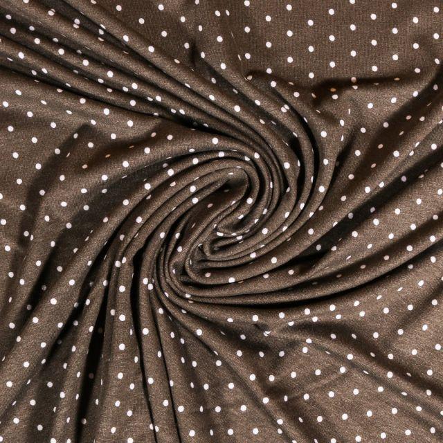 Tissu Jersey Viscose Taupe Pois 3mm Blanc - Par 10 cm