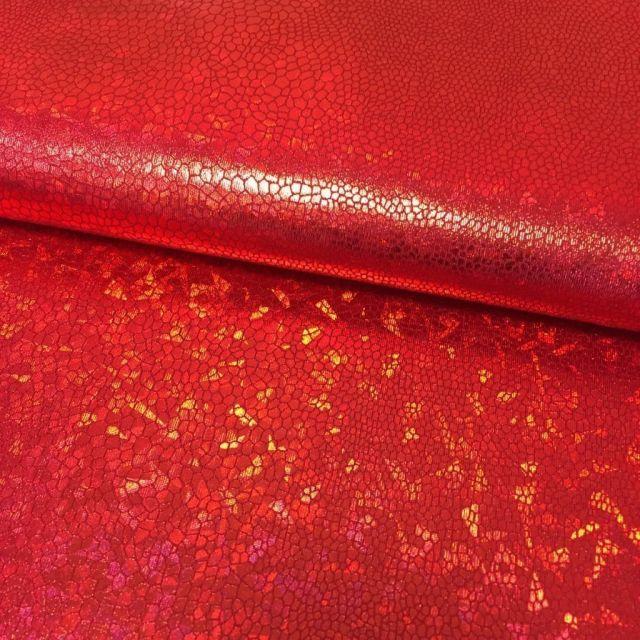 Tissu Lamé effet holographique Rouge - Par 10 cm
