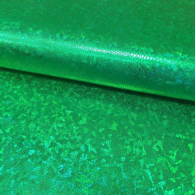 Tissu Lamé effet holographique Vert - Par 10 cm