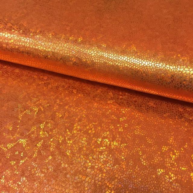 Tissu Lamé effet holographique Orange - Par 10 cm