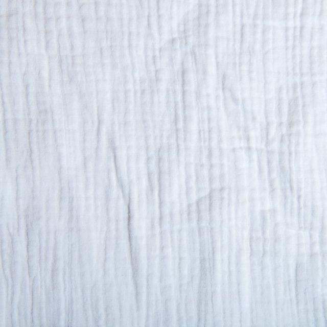 Tissu Double gaze de coton uni Blanc - Par 10 cm