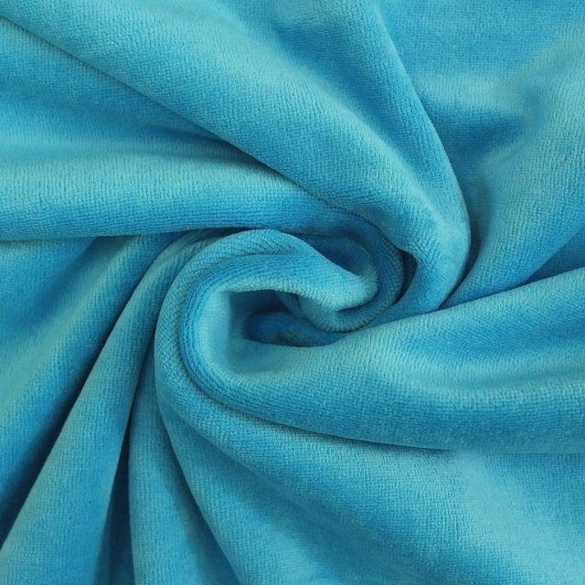 Tissu Jersey Velours tout doux Bleu turquoise x10cm