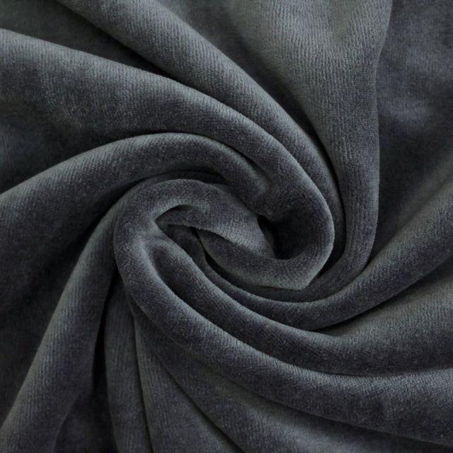 Tissu Jersey Velours tout doux Bleu de Prusse x10cm