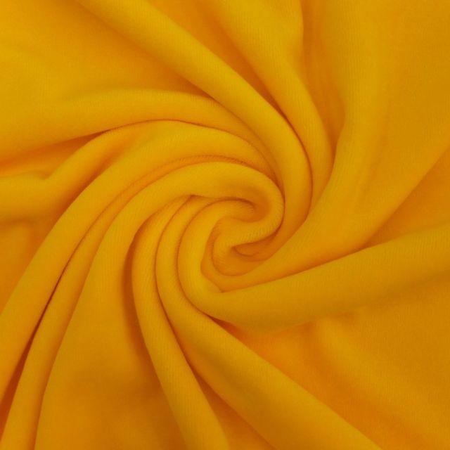 Tissu Jersey Velours tout doux Jaune citron x10cm