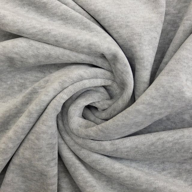 Tissu Jersey Velours tout doux Gris chiné clair x10cm