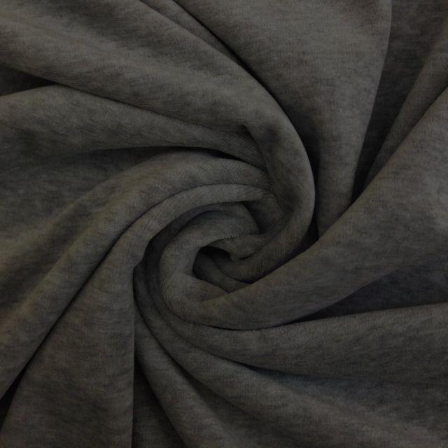 Tissu Jersey Velours tout doux Gris chiné foncé x10cm