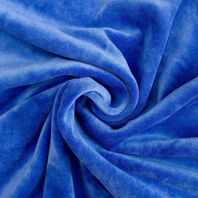 Tissu Jersey Velours tout doux Bleu denim x10cm