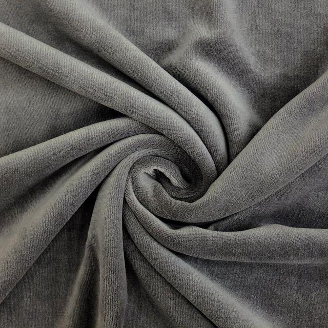 Tissu Jersey Velours tout doux Gris souris x10cm