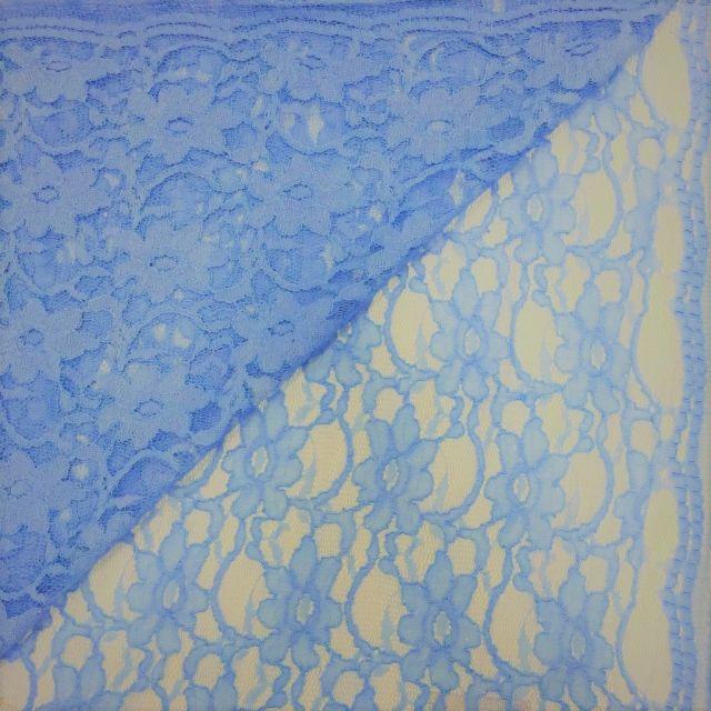 Tissu Dentelle Eva Bleu gris - Par 10 cm