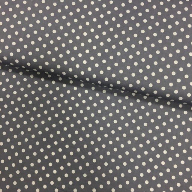 Tissu Coton imprimé Gris clair Pois 8 mm Blancs - Par 10 cm