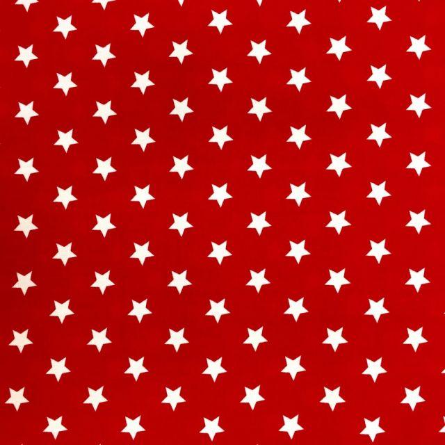 Tissu Coton imprimé Rouge Etoiles Blanches - Par 10 cm