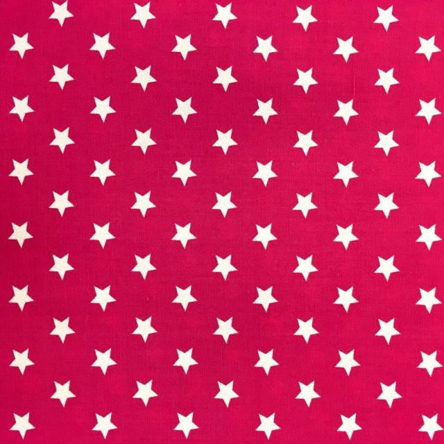 Tissu Coton imprimé Rose fuchsia Etoiles Blanches - Par 10 cm