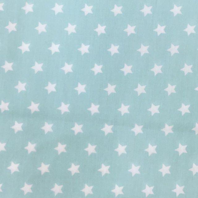 Tissu Coton imprimé Vert menthe Etoiles Blanches - Par 10 cm