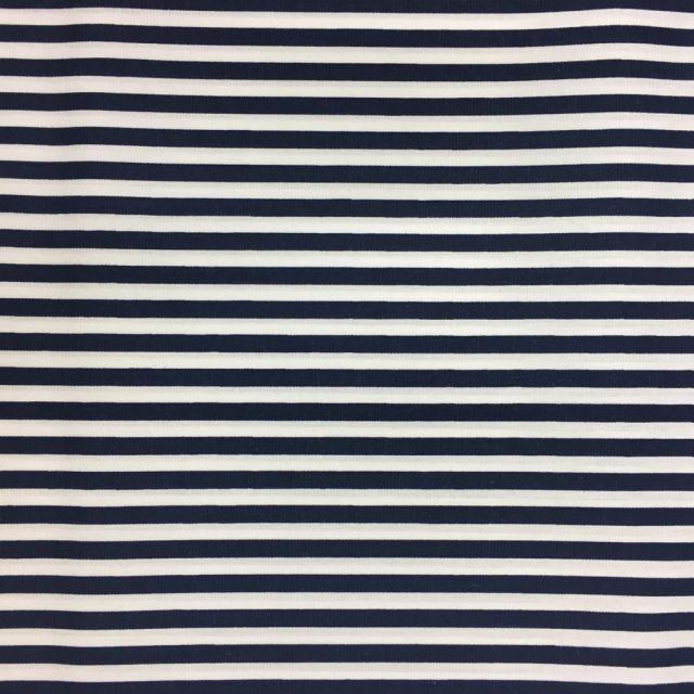 Tissu Coton imprimé marinière Bleu marine et blanc - Par 10 cm