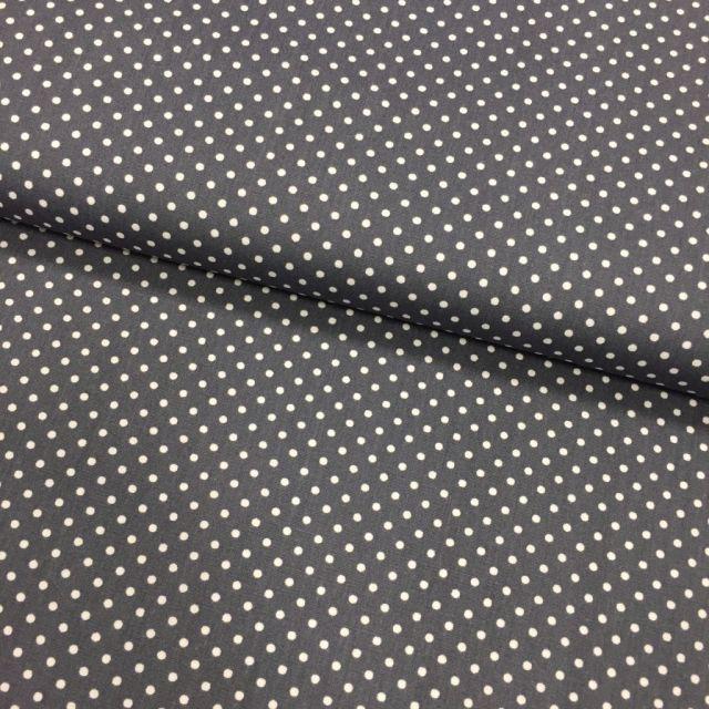 Tissu Coton imprimé Gris foncé Pois 3 mm Blancs - Par 10 cm