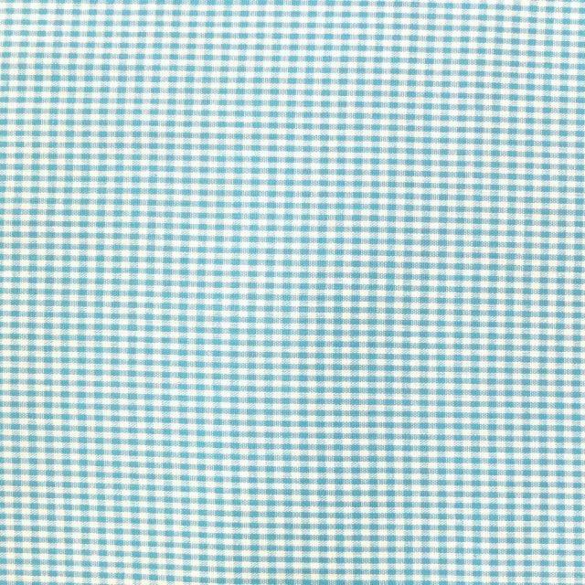 Tissu Vichy Mini carreaux 3 mm Bleu turquoise - Par 10 cm