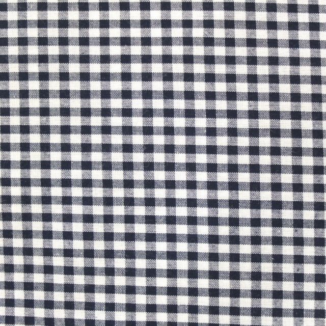 Tissu Vichy Petits carreaux 5 mm Bleu marine - Par 10 cm