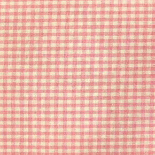 Tissu Vichy Petits carreaux 5 mm Rose pastel - Par 10 cm