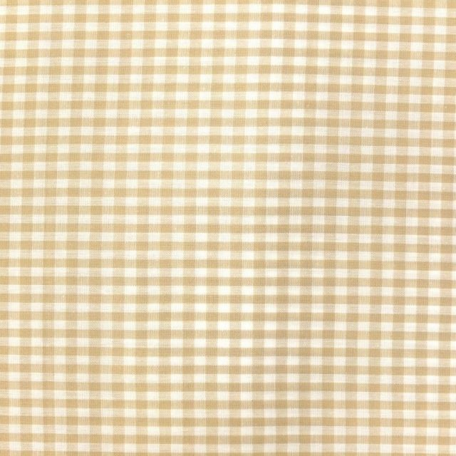 Tissu Vichy Petits carreaux 5 mm Beige - Par 10 cm