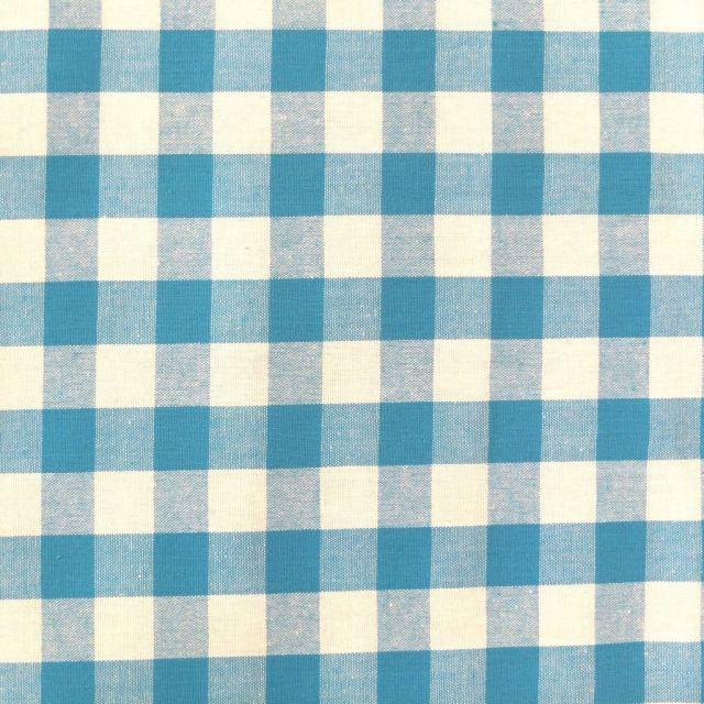 Tissu Vichy Très grands carreaux 17 mm Bleu turquoise - Par 10 cm