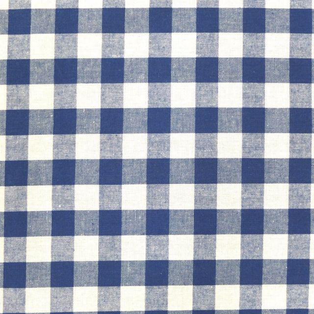 Tissu Vichy Très grands carreaux 17 mm Bleu roi - Par 10 cm
