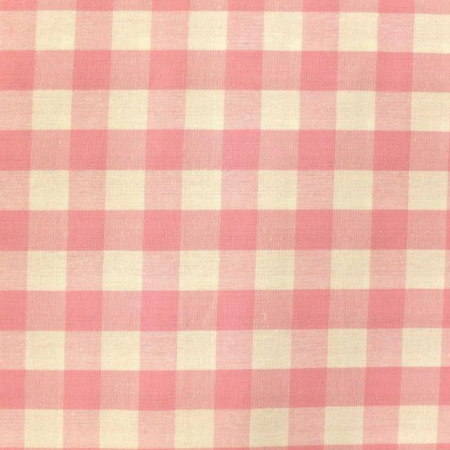 Tissu Vichy Très grands carreaux 17 mm Rose pastel - Par 10 cm