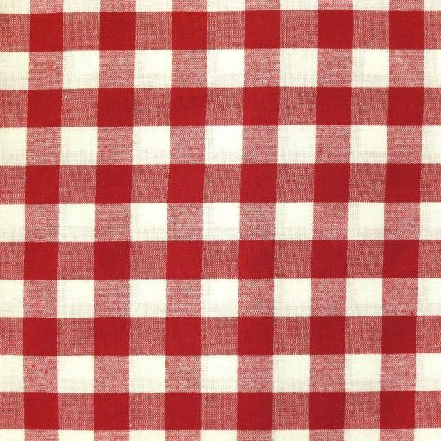 Tissu Vichy Très grands carreaux 17 mm Rouge - Par 10 cm