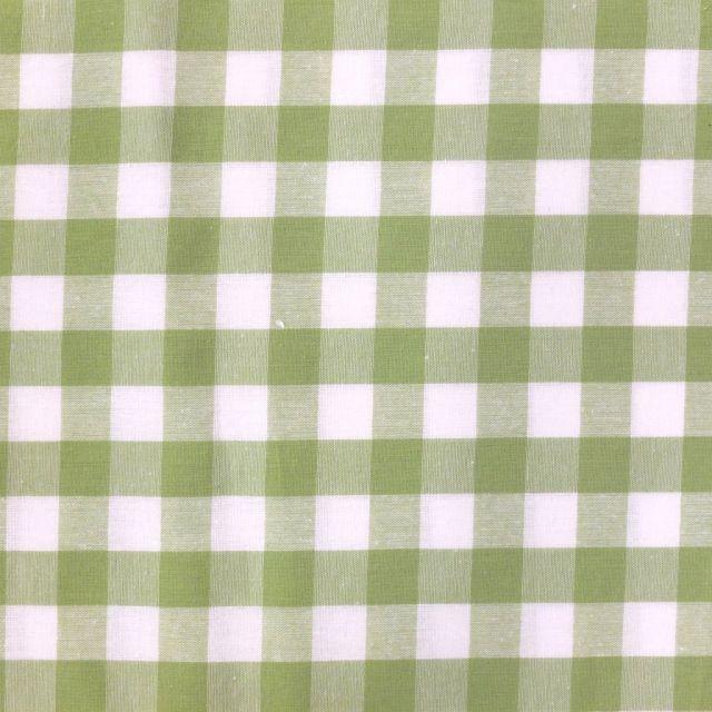 Tissu Vichy Très grands carreaux 17 mm Vert pomme - Par 10 cm