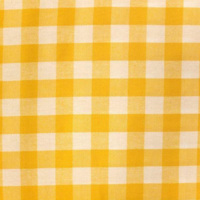 Tissu Vichy Très grands carreaux 17 mm Jaune - Par 10 cm