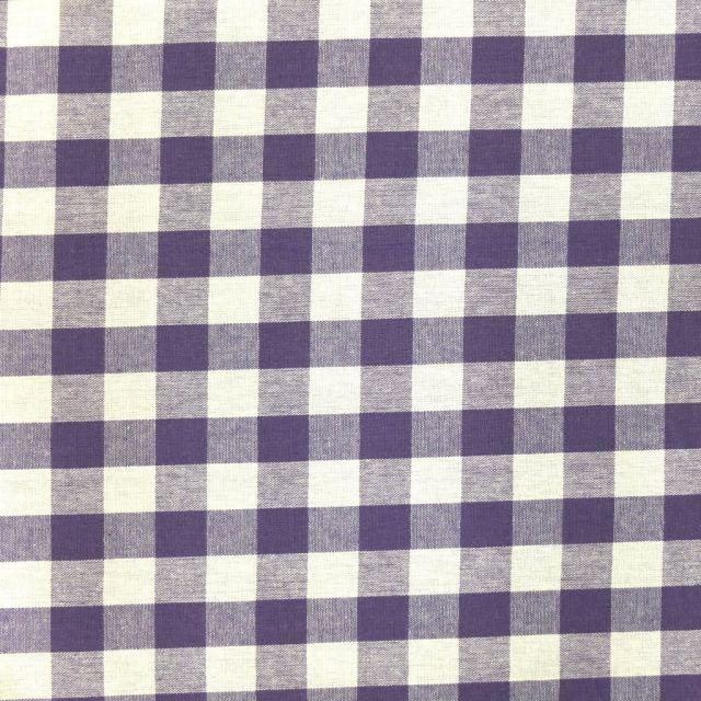 Tissu Vichy Très grands carreaux 17 mm Violet - Par 10 cm