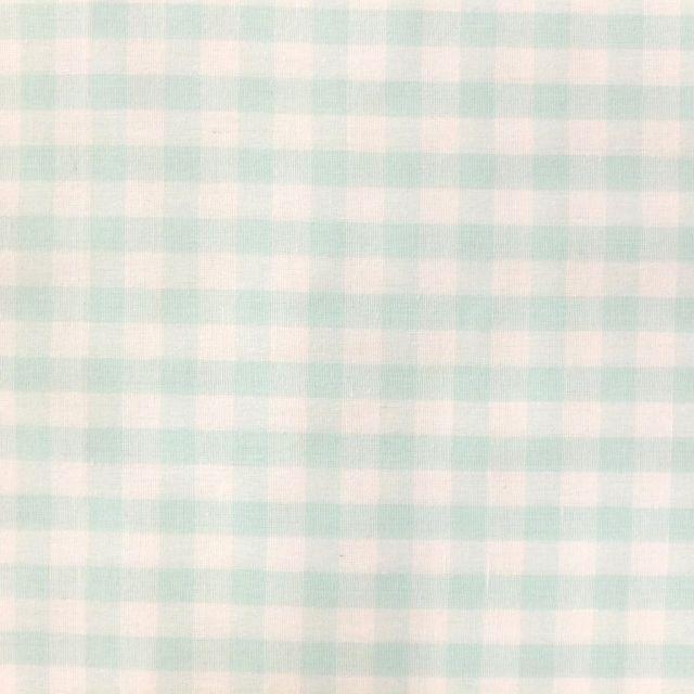 Tissu Vichy Grands carreaux 10 mm Vert menthe - Par 10 cm