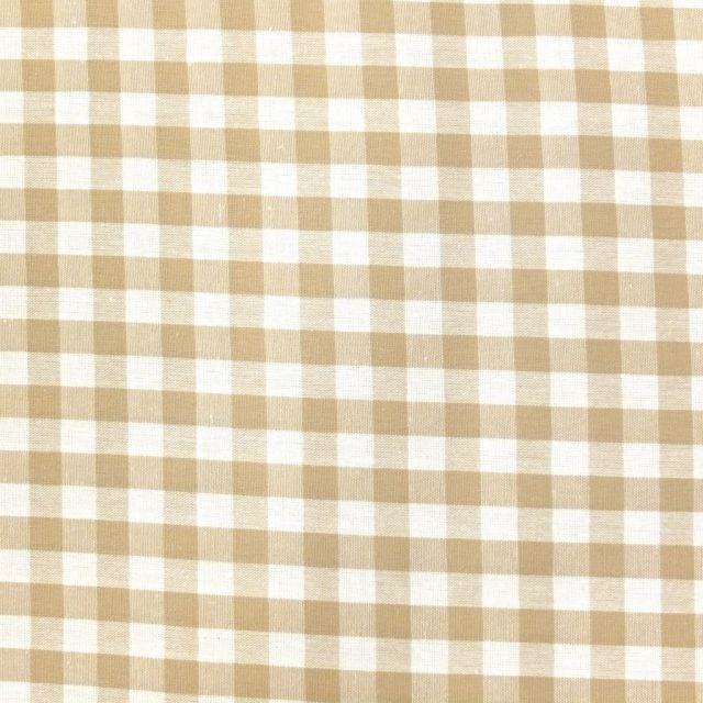 Tissu Vichy Grands carreaux 10 mm Beige - Par 10 cm