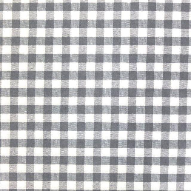 Tissu Vichy Grands carreaux 10 mm Gris - Par 10 cm