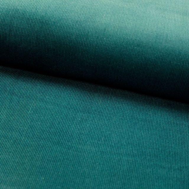 Tissu Velours milleraies Vert canard - Par 10 cm