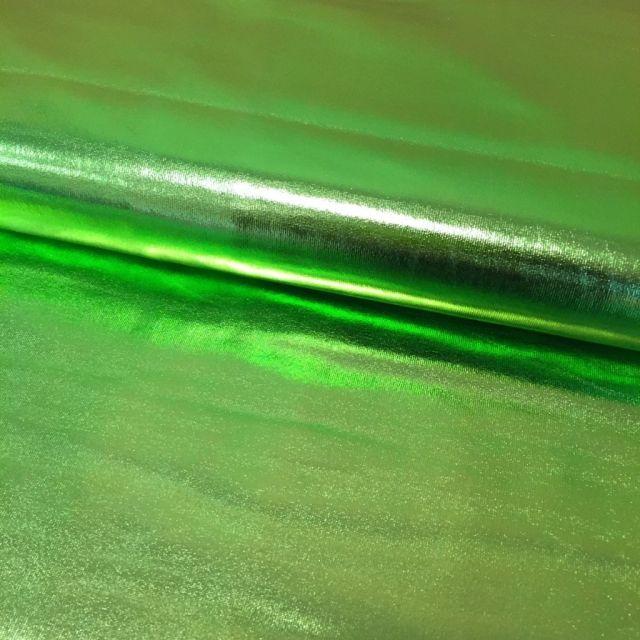 Tissu Lamé brillant Vert pomme - Par 10 cm