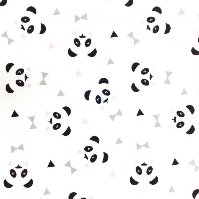 Tissu Coton Imprimé Arty Blanc Pandas Noirs - Par 10 cm