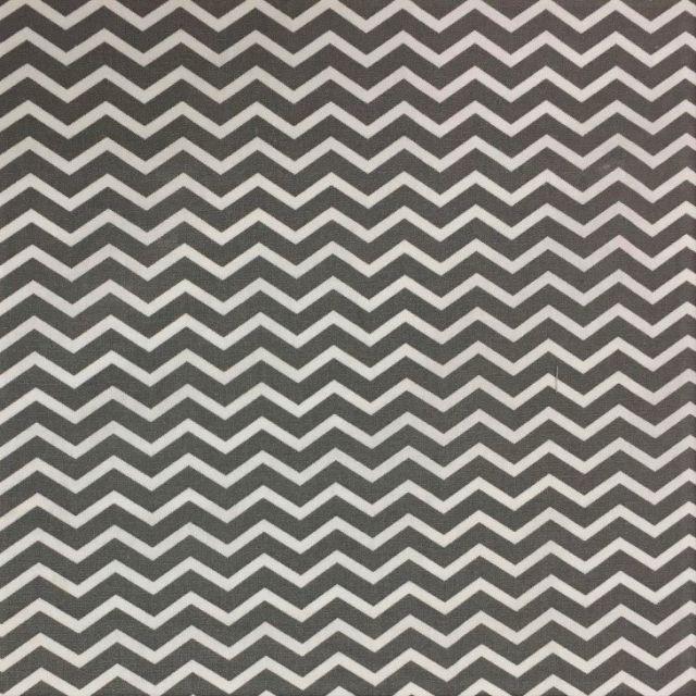 Tissu Coton Imprimé Arty Chevrons Gris anthracite - Par 10 cm