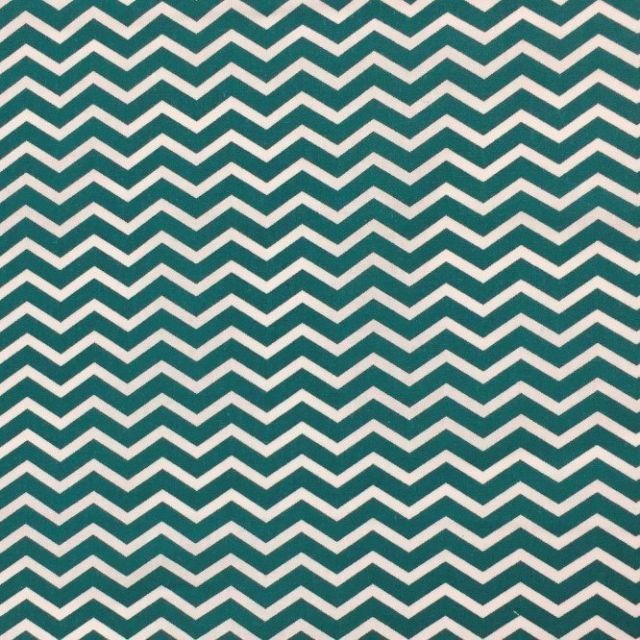 Tissu Coton Imprimé Arty Chevrons Vert canard - Par 10 cm