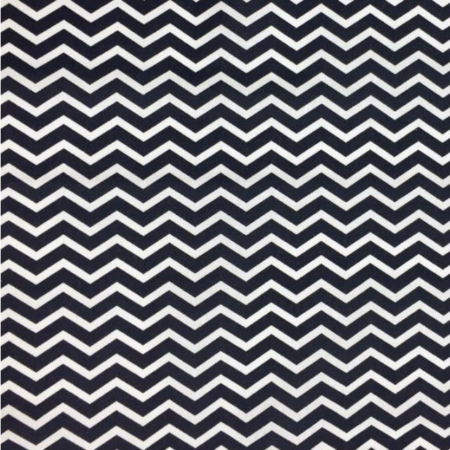 Tissu Coton Imprimé Arty Chevrons Bleu marine - Par 10 cm