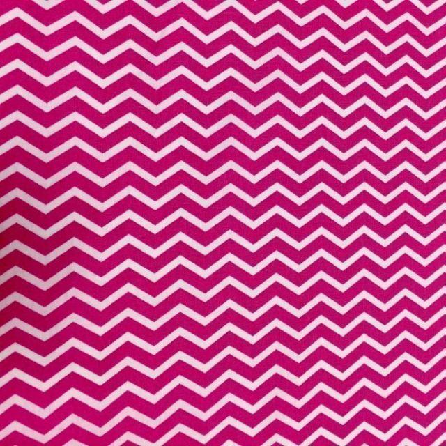 Tissu Coton Imprimé Arty Chevrons Rose - Par 10 cm