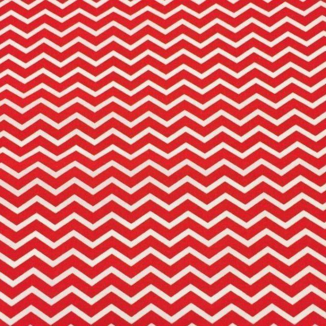 Tissu Coton Imprimé Arty Chevrons Rouge - Par 10 cm