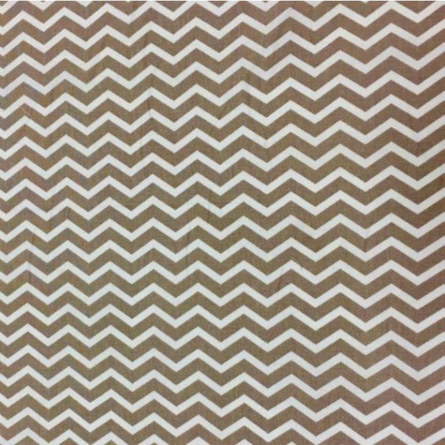 Tissu Coton Imprimé Arty Chevrons Taupe - Par 10 cm